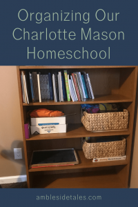 Our Charlotte Mason homeschool curriculum has a lot of subjects, books, supplies, and printed materials. When we started the year, I realized I needed a system for organizing all of these homeschool components. In this post, I discuss my organizing strategy for our Charlotte Mason homeschool binder, bookshelf, and homeschool room.
