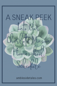 You may be wondering what a Charlotte Mason homeschool day looks like. Well, each family will have a different look and feel. In this post, I share what we're doing. But remember that what works for us may not be a great option for others. With that caveat, I'll share our basic schedule. In addition, I'll share some resources we use in our Charlotte Mason homeschool.